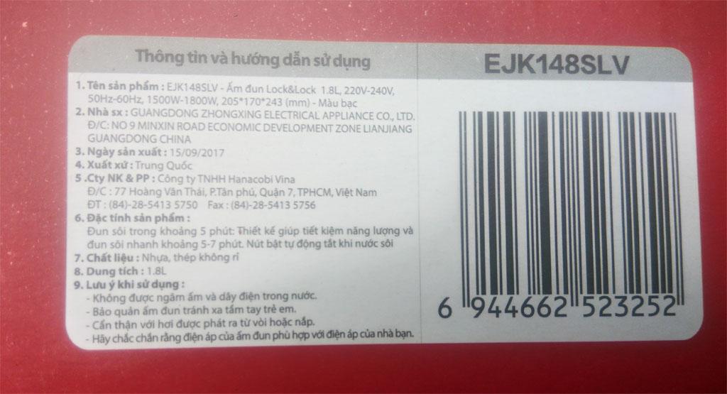 Ấm siêu tốc Inox 304 Lock&Lock EJK148SLV 1.8L hàng chính hãng