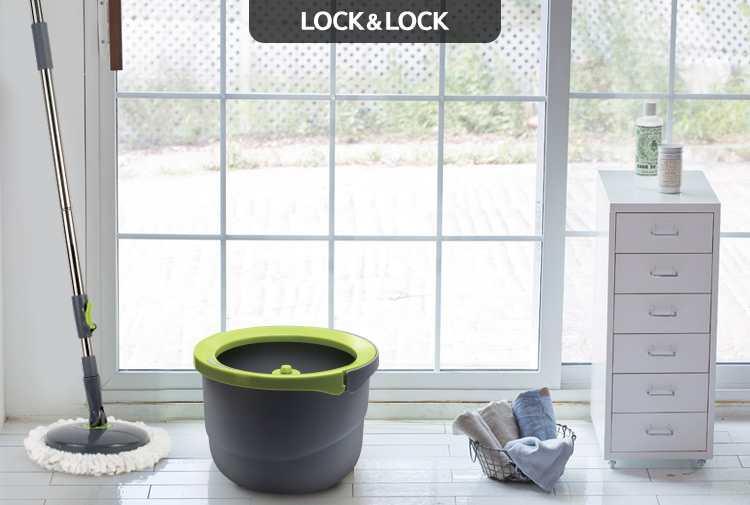 Bộ cây lau nhà Inox xoay tay mini Ettom Lock&Lock ETM498 - 2 Bông Lau