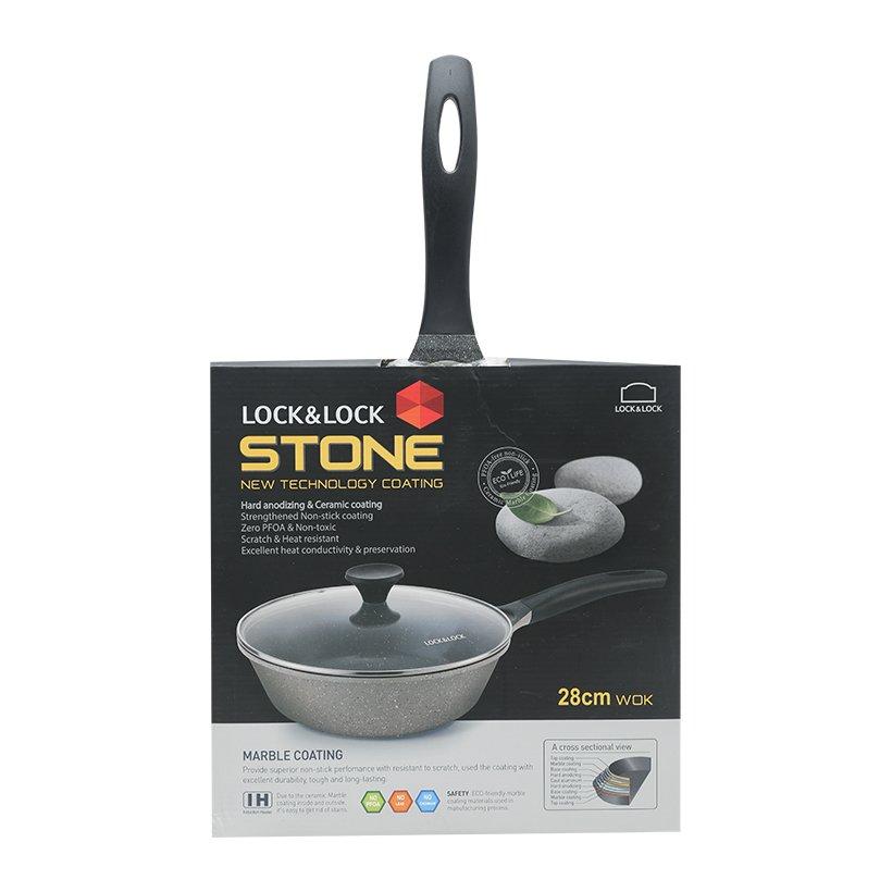 Chảo vân đá sâu lòng Lock&Lock Stone LCA6285D 28cm vung kính dùng bếp từ