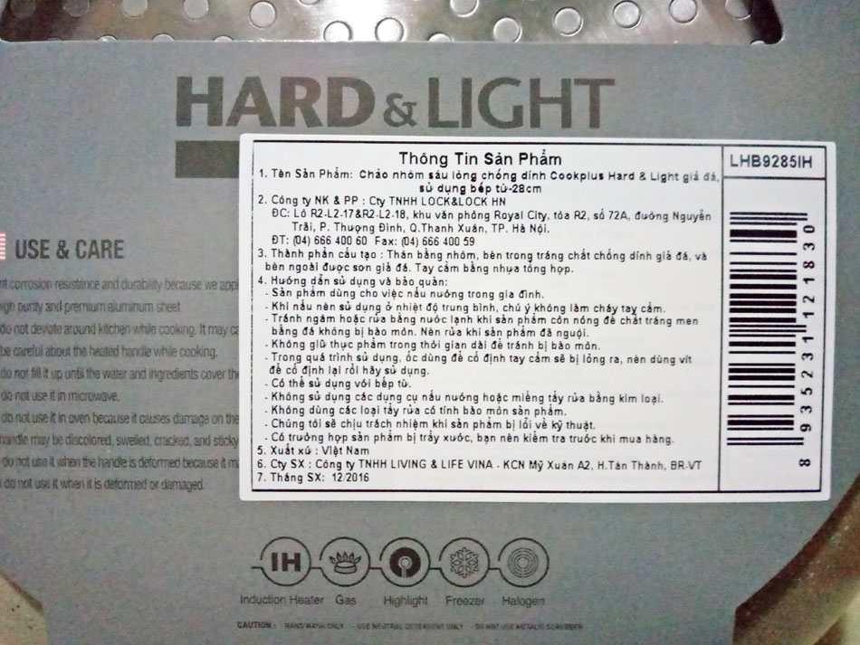 Chảo nhôm vân đá sâu lòng siêu chống dính Cookplus Hard&Light Marble LHB9265-IH 26cm