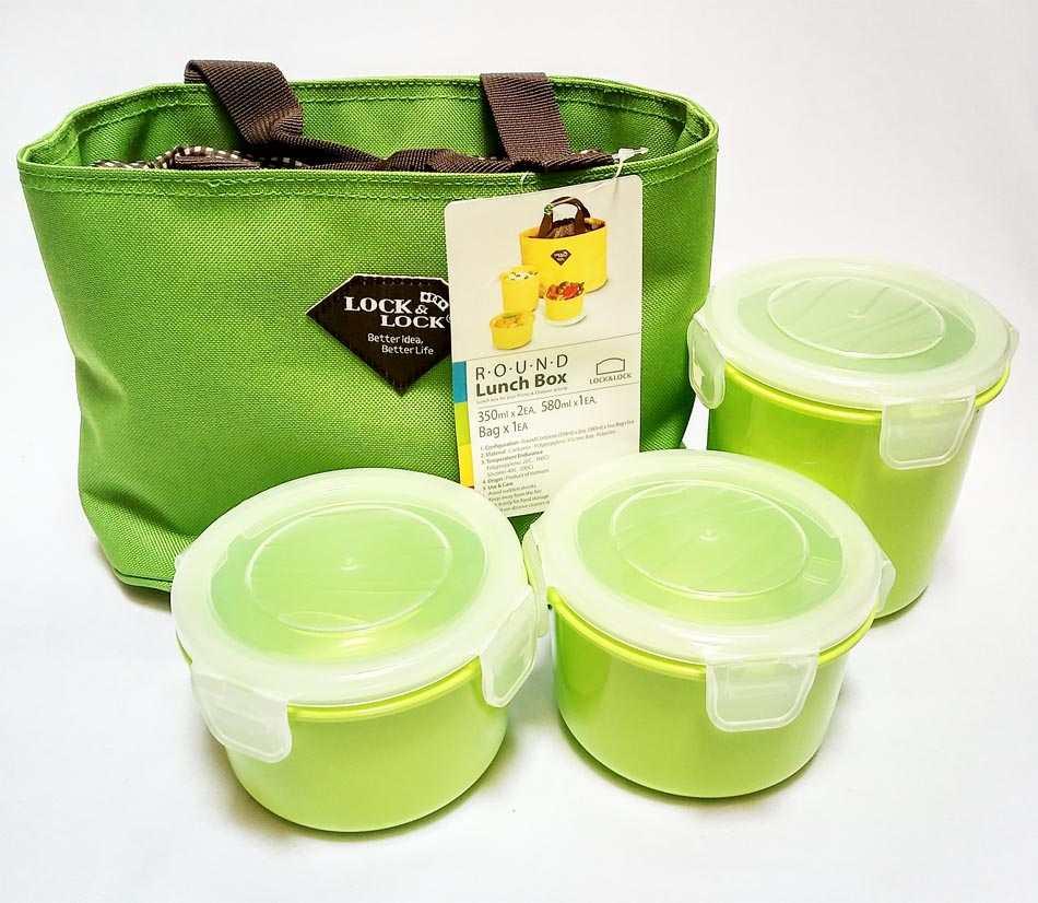 Bộ 3 hộp đựng cơm và túi giữ nhiệt Lock&lock HAF100R3