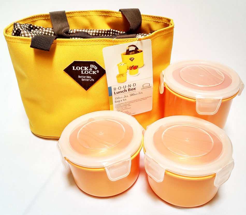 Bộ 3 hộp đựng cơm và túi giữ nhiệt Lock&lock HAF100y3