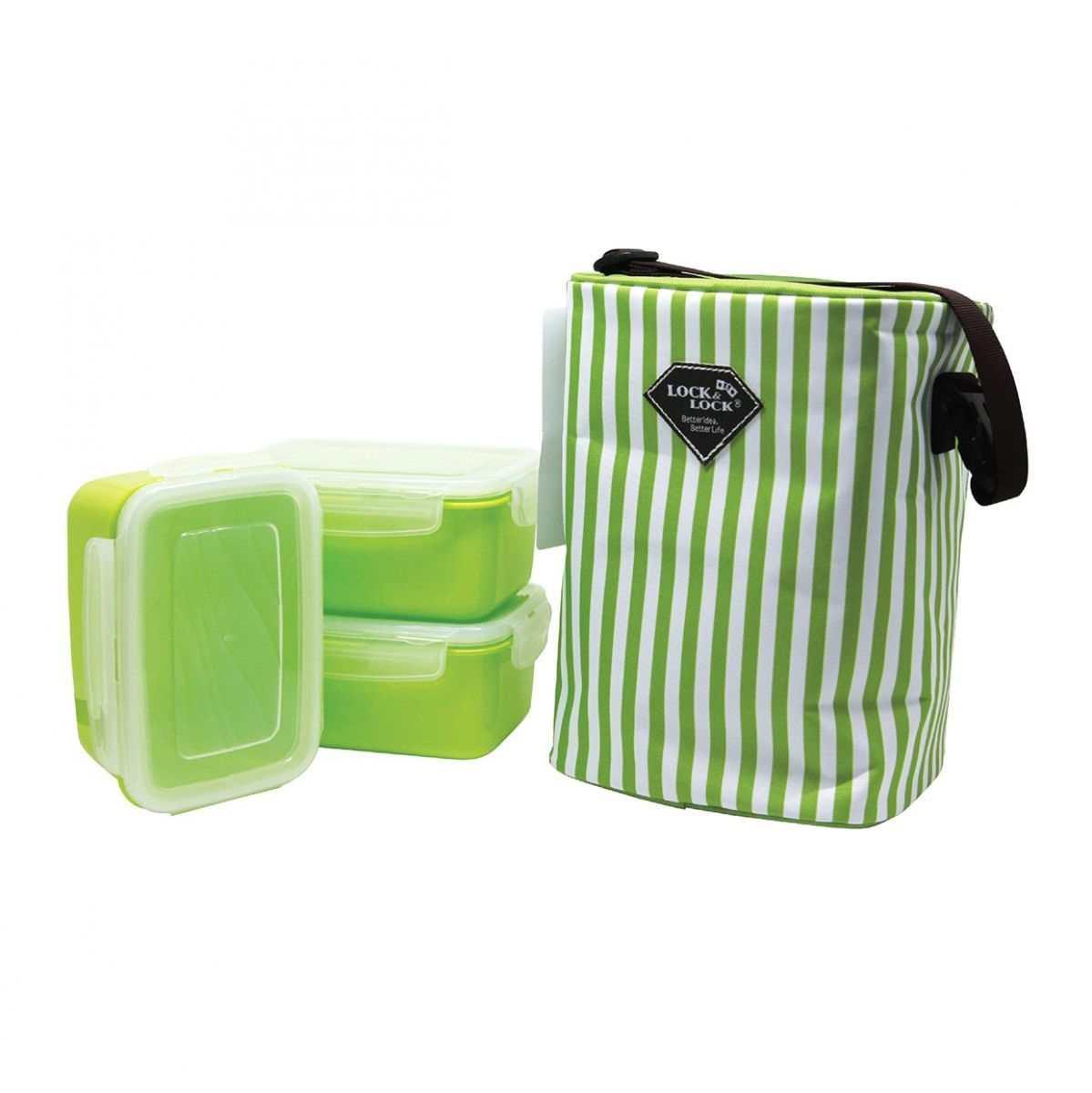 Bộ 3 hộp đựng cơm và túi giữ nhiệt Lock&Lock HAF101G3 630ml