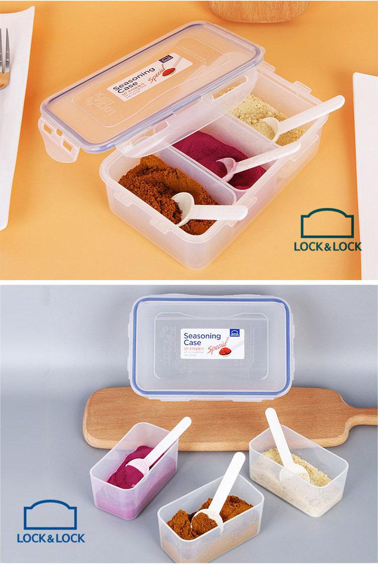 Hộp nhựa đựng thực phẩm chia 3 ngăn Lock&lock HPL817CT 1L kèm 3 thìa