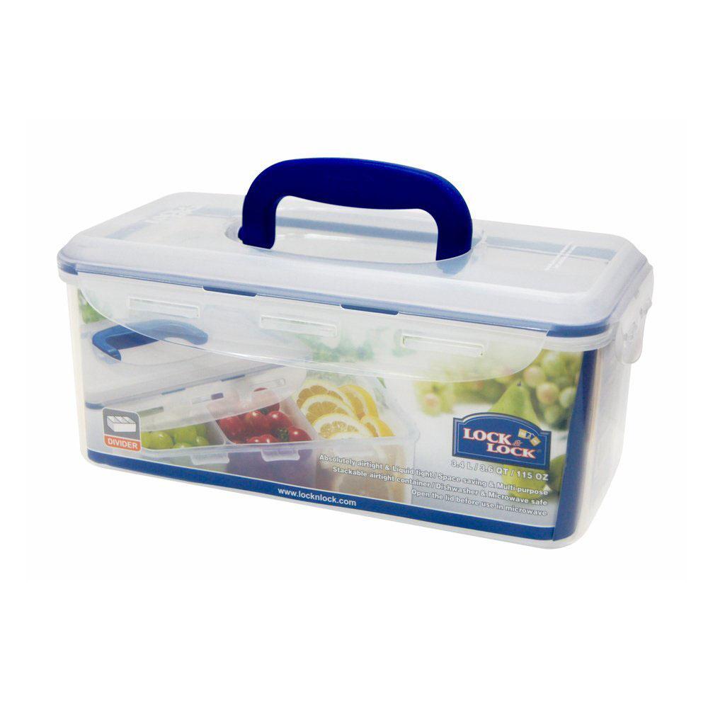 Hộp nhựa đựng thực phẩm chia 3 ngăn Lock&lock HPL848CH 3.4L có quai xách