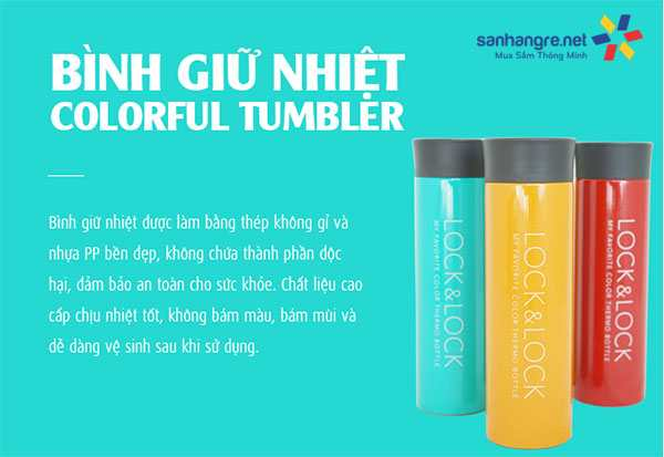 Bình giữ nhiệt Lock&Lock LHC4017 Colorful Tumbler - Basic Color 400ml