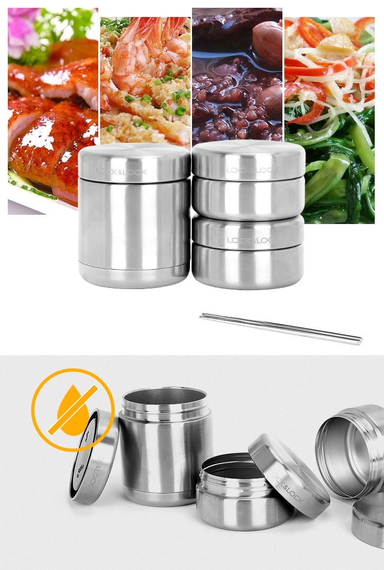 Bộ hộp cơm giữ nhiệt Inox 304 kèm đũa và túi giữ nhiệt Lock&lock LHC8015