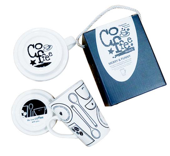 Ly sứ có nắp đậy và quai Lock&lock Merry & Funny SLB007A 370ml - Love tím