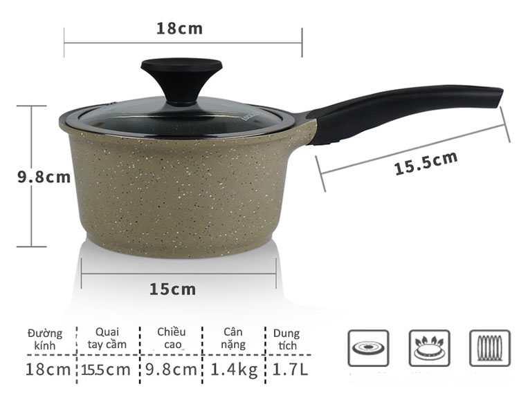 Nồi đá Lock&lock Cookplus Stone một tay cầm 18cm LCA6181D dùng bếp từ