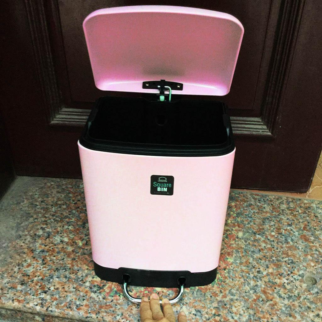Thùng đựng rác vuông đạp chân sơn tĩnh điện Lock&lock BYP122 6L