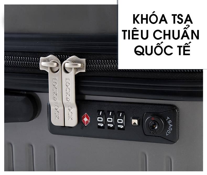 Vali kéo có khóa số du lịch Lock&Lock Travel Zone LTZ920BTSA 20 inch