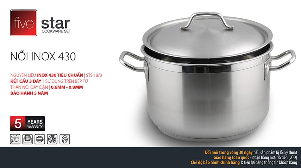 Nồi luộc gà Inox 430 Fivestar 32cm N32 dùng bếp từ