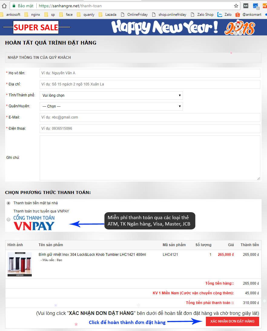 bước thanh toán mua hàng online tại shop sanhangre.net