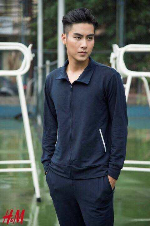Bộ quần  áo nam HM kéo khóa màu xanh than