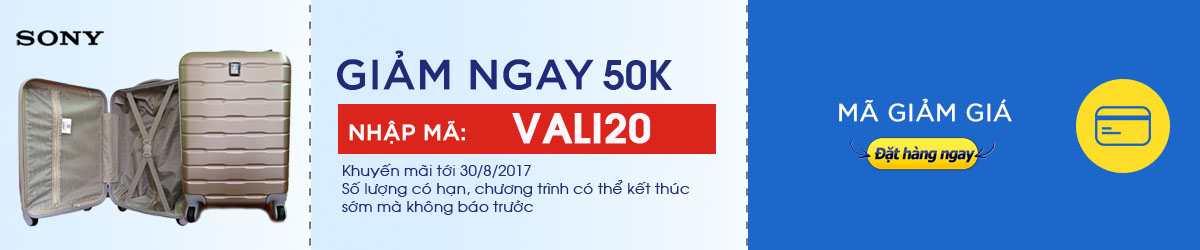 Giảm giá 50k cho vali sony