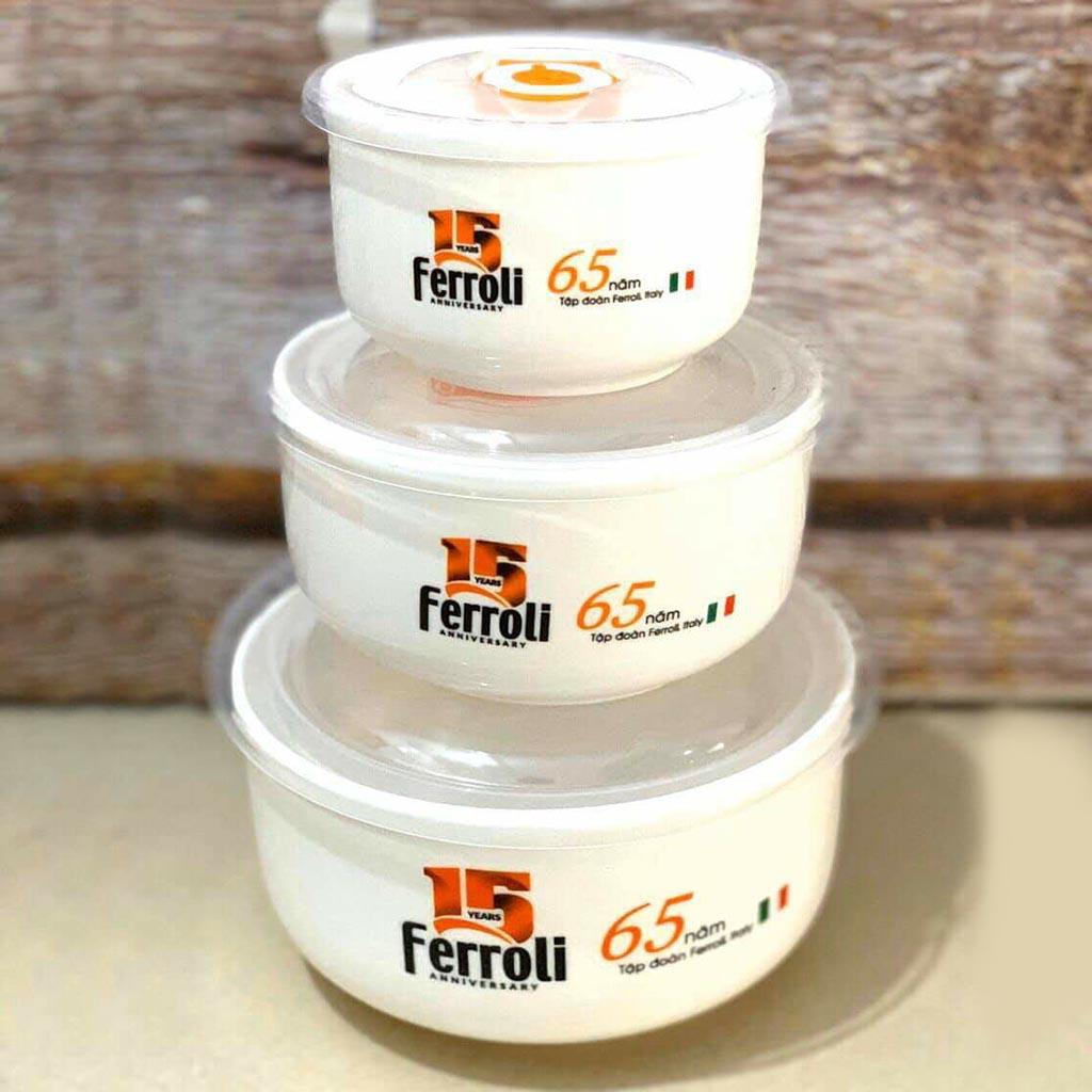 Bộ 3 tô sứ có nắp hút chân không cao cấp Ferroli - 290ml, 540ml và 930ml