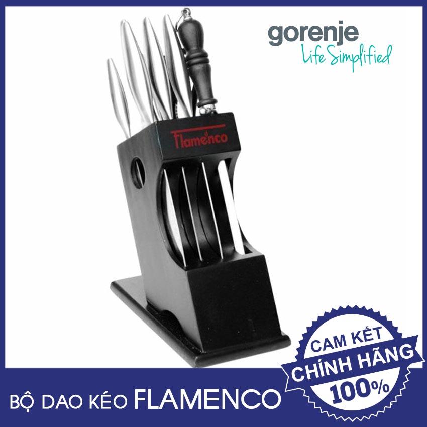 Bộ dao kéo và thanh mài dao Inox cao cấp Flamenco FSKBS09 chính hãng, chuẩn Châu Âu