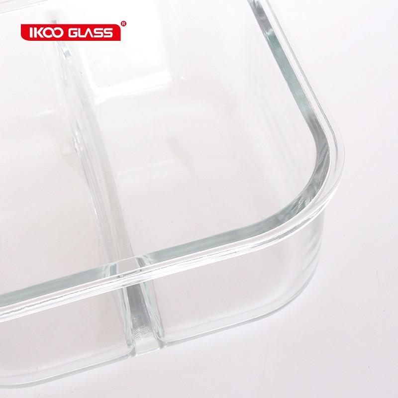Hộp thủy tinh chịu nhiệt vuông chia 2 ngăn IKOO GLASS dung tích 320ml nắp hút chân không