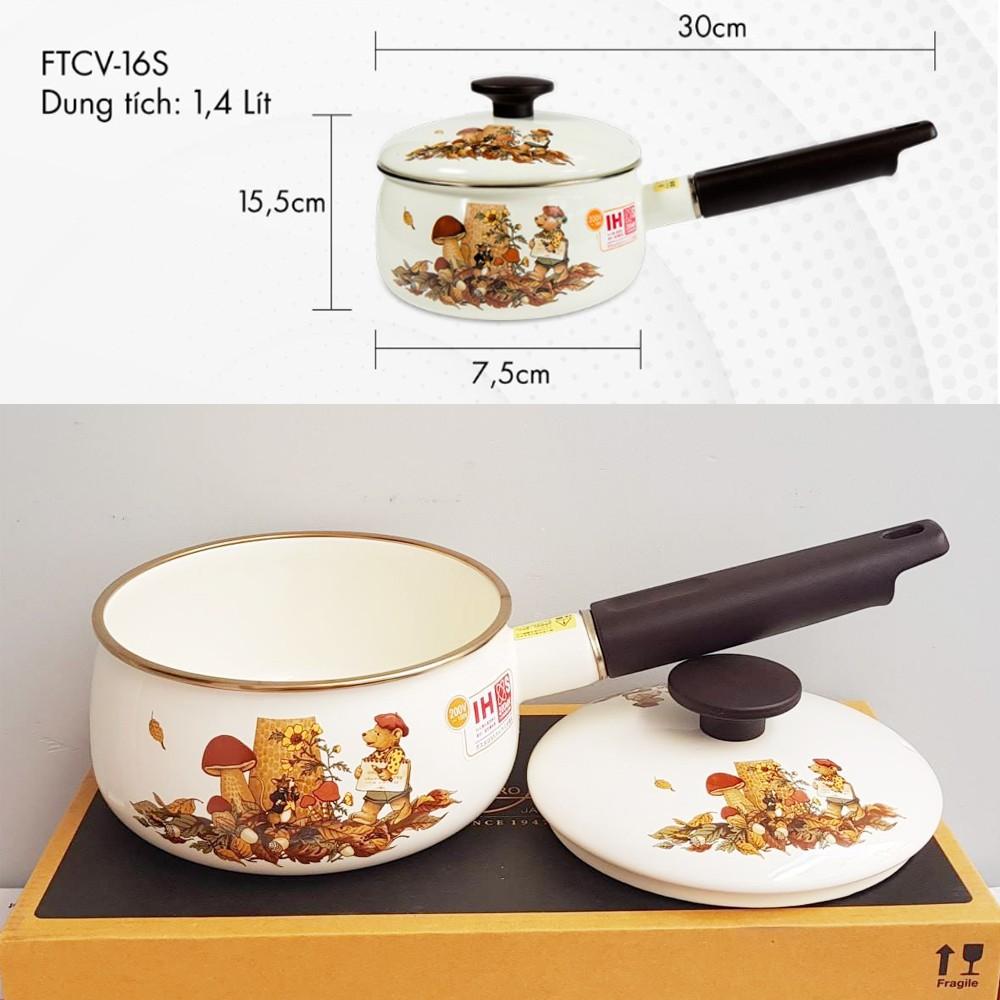 Quánh thép Nippon tráng men hoa văn gấu 16cm Fujihoro Nhật Bản FTCV-16S đáy từ