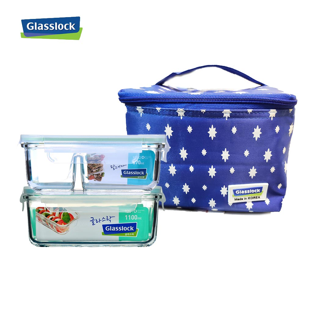 Bộ hộp thủy tinh 1100ml, hộp chia ngăn 670ml và túi giữ nhiệt Glasslock hình sao