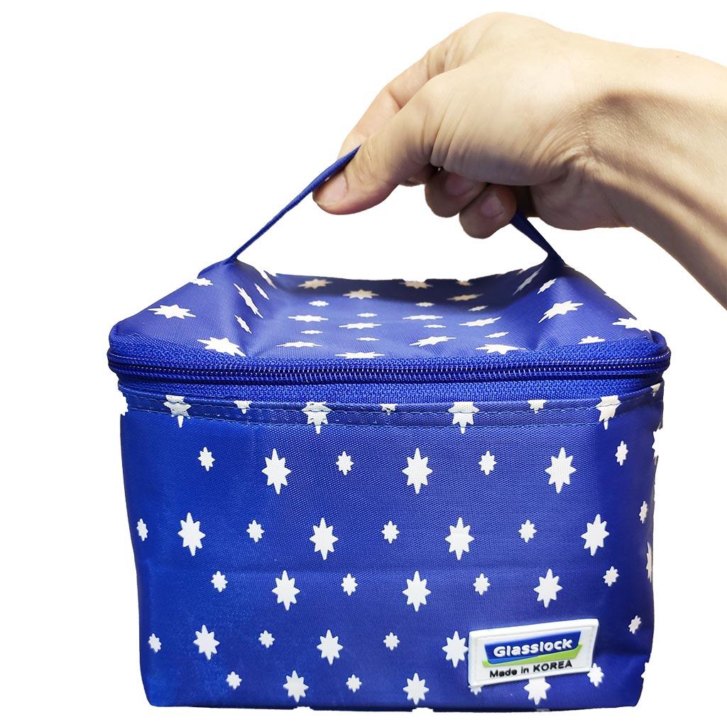 Túi giữ nhiệt hình chữ nhật Glasslock màu xanh hình sao size 20x15x14cm