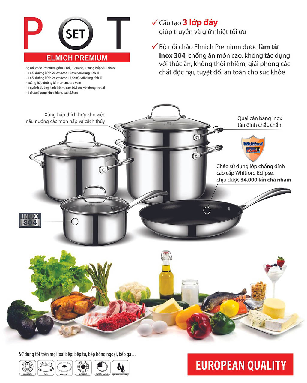 Bộ Nồi và chảo cáo cấp Inox 304 Elmich Premium EL3134 dùng bếp từ