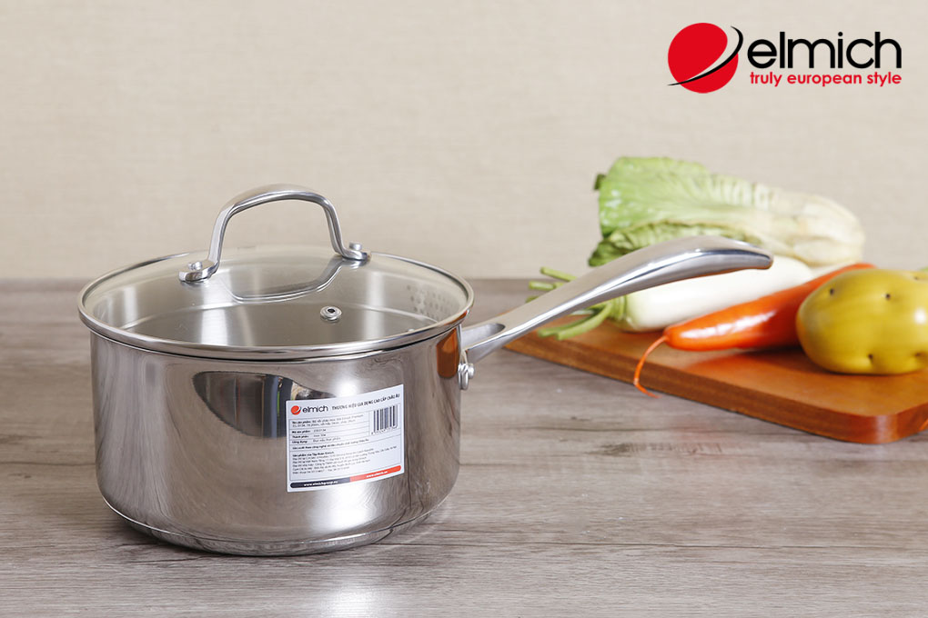 Quánh Inox 304 Elmich Premium 18cm vung kính hàng nhập khẩu chính hãng, bảo hành 5 năm