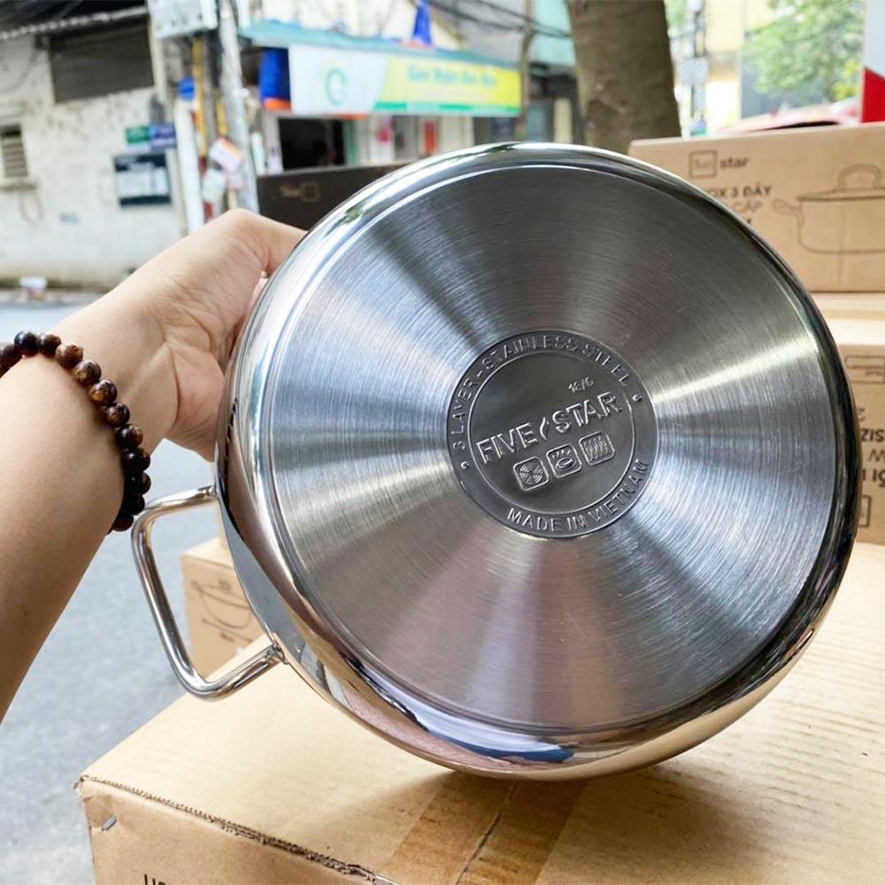 Nồi 3 Đáy Inox 430 Fivestar 18cm Dùng Cho Bếp Từ FSN18005