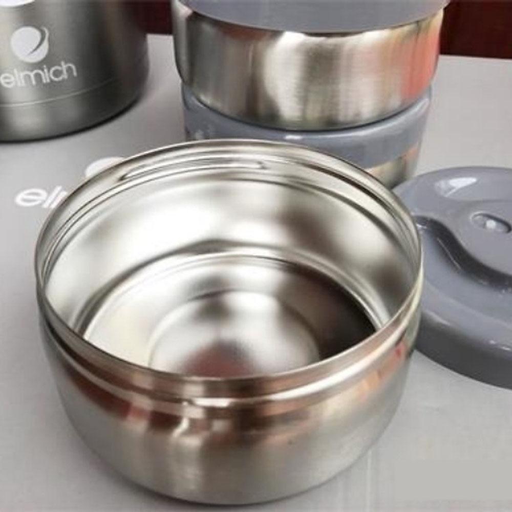 Cặp lồng giữ nhiệt Inox 304 tráng bạc 3 lớp 1800ml Elmich EL-3128 hàng chinh hãng, bảo hành 12 tháng