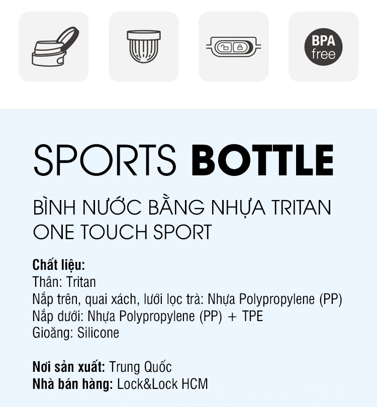 Bình Nước Bằng Nhựa Tritan One Touch Sport Lock&Lock ABF763BLU - Xanh Dương (750ml)