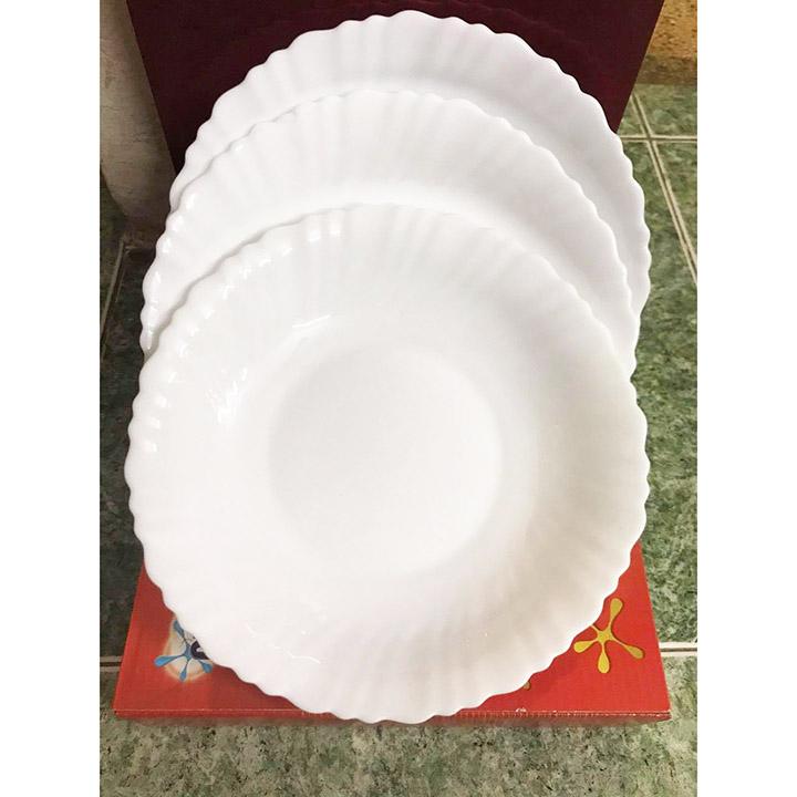 Bộ 3 đĩa sứ thủy tinh cao cấp Rapido Opal Glass