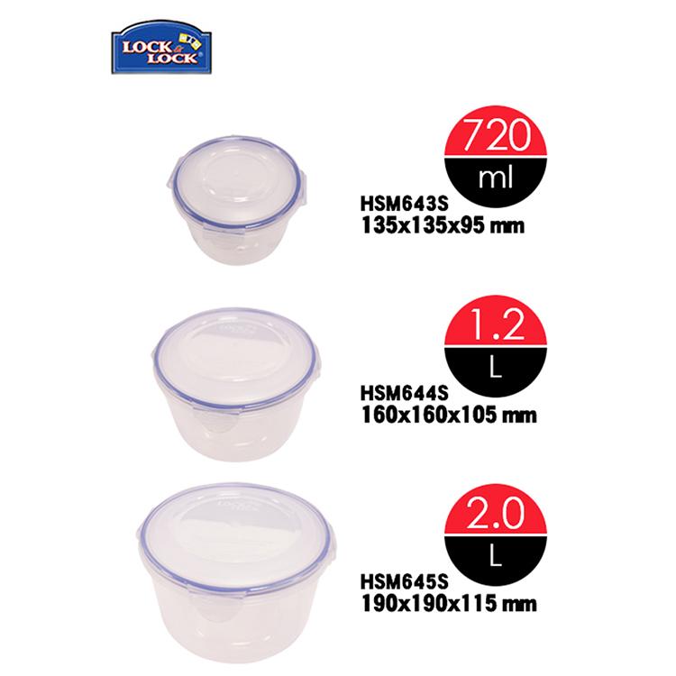 Bộ 3 hộp bảo quản thực phẩm Lock&Lock the Original HSM643S3 (2000ml, 1200ml và 720ml)