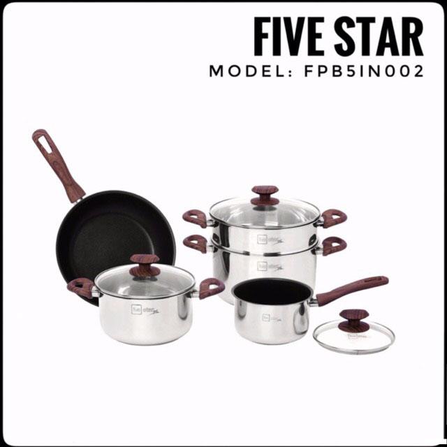 Bộ nồi chảo Inox 304 Fivestar vung kính đáy từ, cán vân gỗ - Hàng chính hãng, bảo hành 5 năm