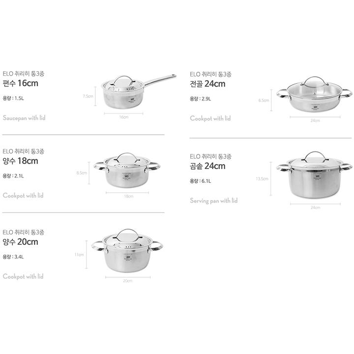 Bộ 5 nồi Inox thân đúc ELO Zurich Premium nhập khẩu Đức