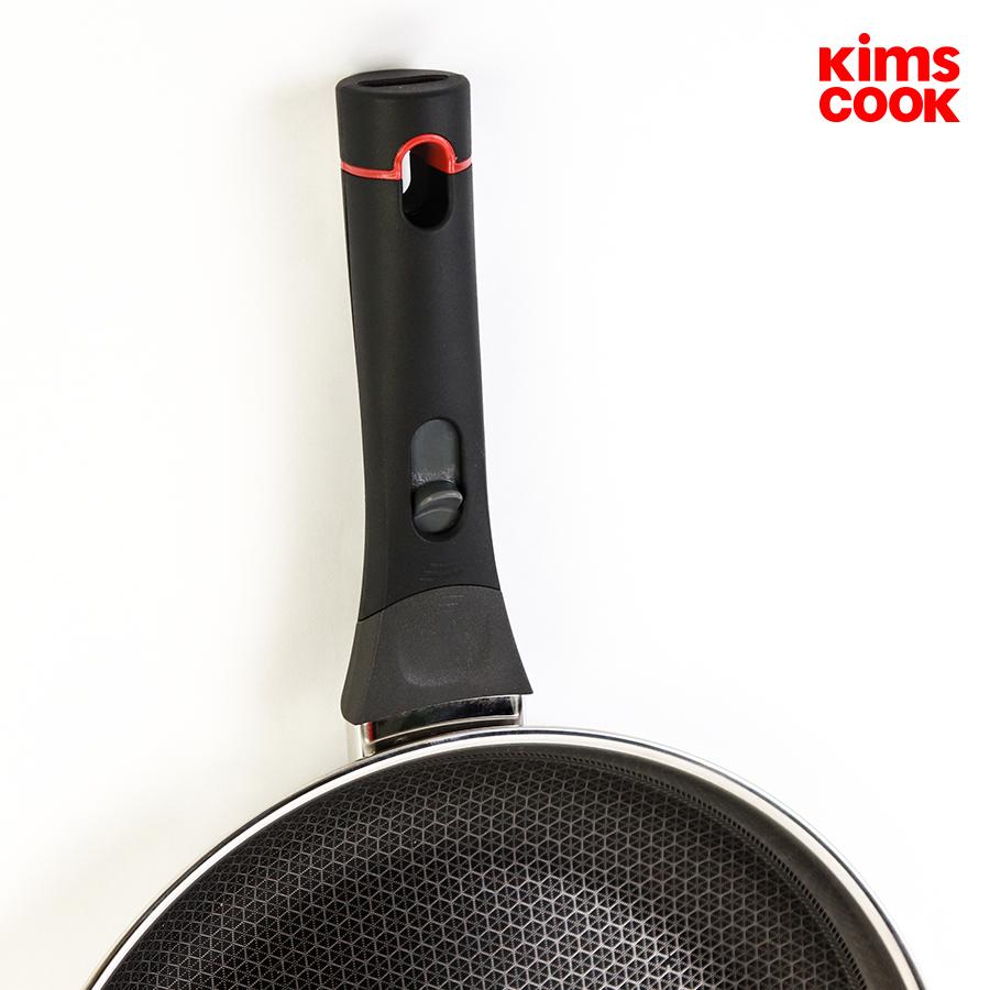 Bộ chảo sâu lòng xửng hấp 24cm inox 3 lớp đáy liền Kimscook T&K Blackcube Korea