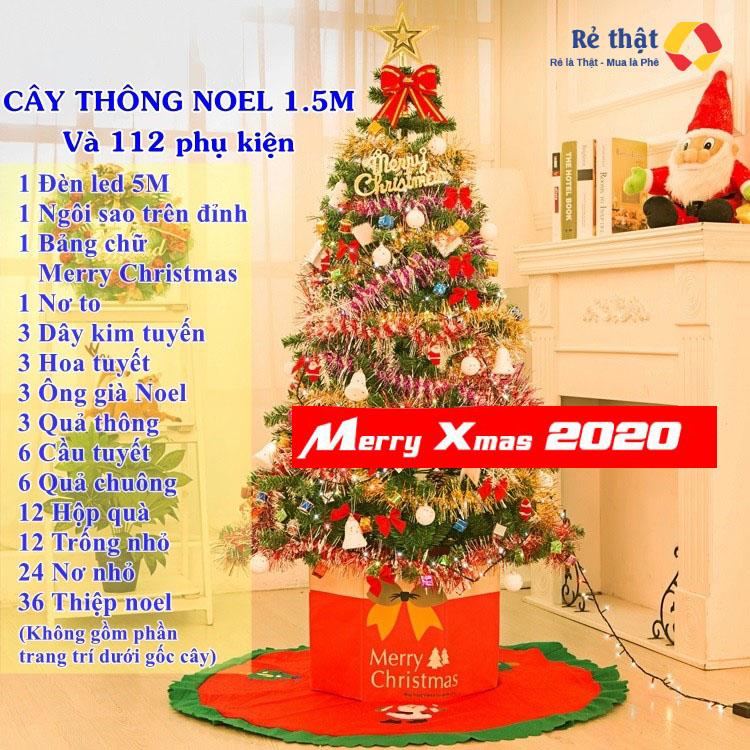 Cây thông Noel LuxStay 1.5M kèm phụ kiện trang trí Giang Sinh 2020