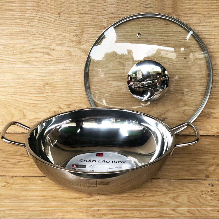 Chảo lẩu inox 3 đáy Fivestar đừng kính 32cm vung kính