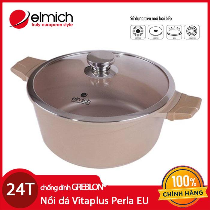 Nồi đá chống dính Elmich Vitaplus Perla EL0343 (26cm) dùng bếp từ, xuất xứ CH Séc, bảo Hành 2 Năm