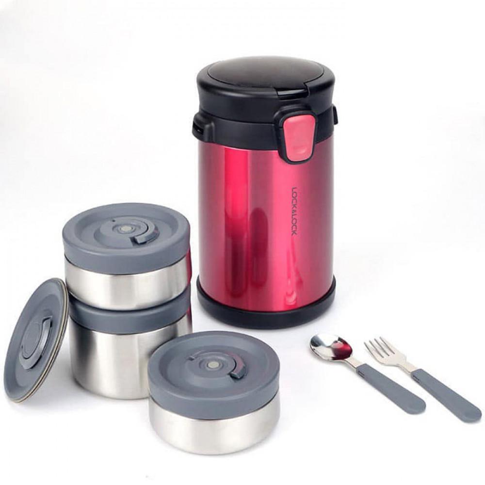 Bộ Hộp Cơm Giữ Nhiệt Easy Take Lunch Box Lock&Lock LHC8034 dung tích 2000ml kèm túi