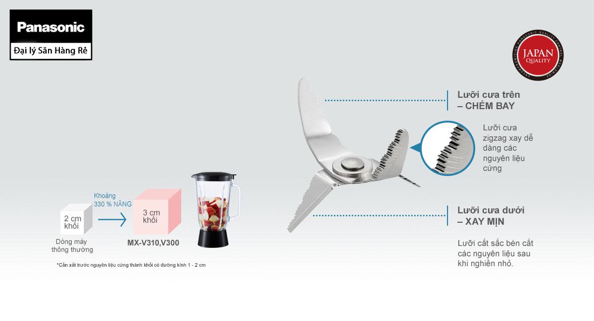 Máy Xay Sinh Tố, Xay Đá Panasonic MX-V310KRA dung tích 2 lít hàng chính hãng, bảo hành 12 tháng