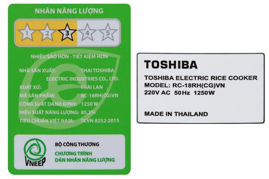 Nồi cơm điện cao tần 1.8 lít Toshiba RC-18RHCGVN hàng chính hãng, bảo hành 12 tháng