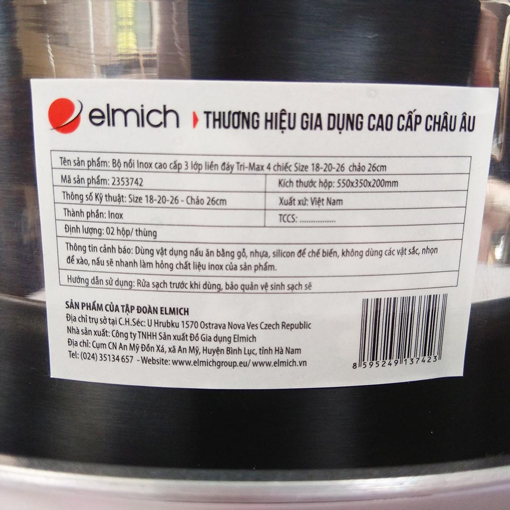 Bộ Nồi Chảo Inox Cao Cấp 3 Lớp Đáy Liền Elmich Tri-Max EL-3742