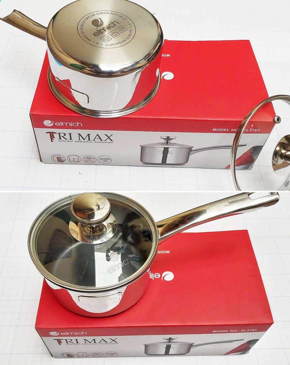 Quánh inox 3 lớp cao cấp đáy liền Elmich Tri-max XS EL3745 đường kính 16cm hàng chính hãng bảo hành 25 tháng