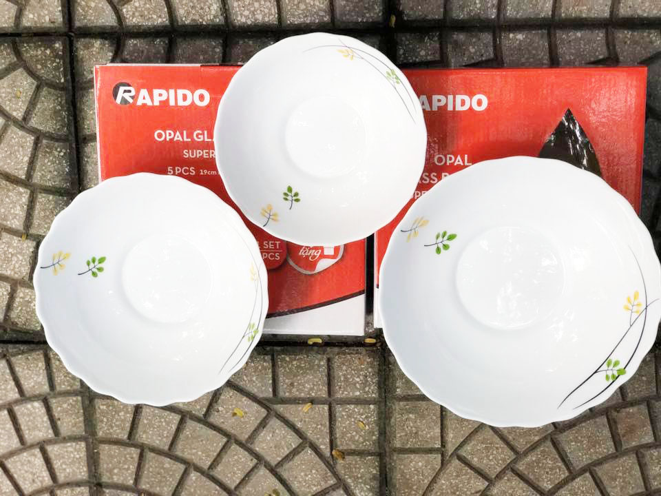Bộ 3 tô sứ thủy tinh 600, 950 và 1300ml Rapido Opal Glass