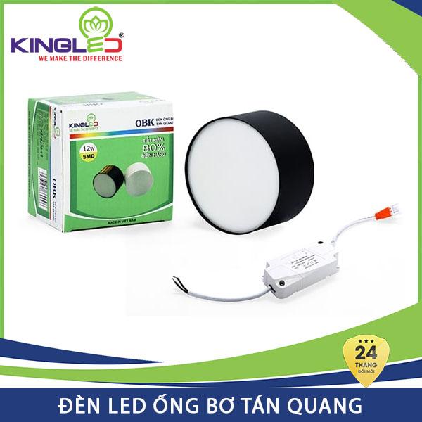Đèn Led ống bơ tán quang Kingled 12W OBK-12 vỏ đen, đổi mới 2 năm