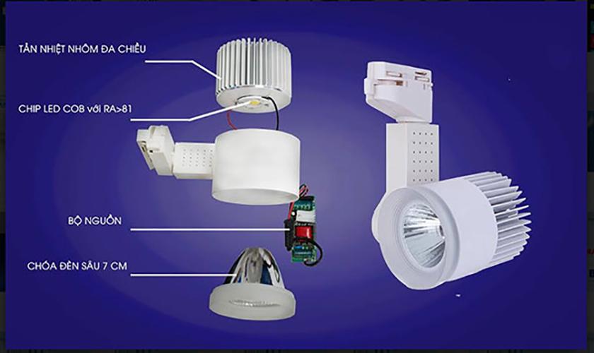 Đèn Led rọi ray Kingled 7W DTL-7 tiết kiệm điện vỏ trắng chính hãng, bảo hành 2 năm