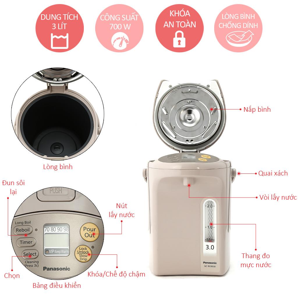 Bình Thuỷ Điện Panasonic 2.2 Lít NC-EG2200CSY