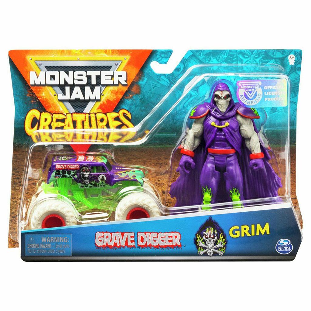 Đồ chơi mô hình Xe Monster Jam Grave Digger Truck và Grim Creatures (Box)